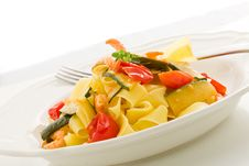 Pasta With Zucchini And Shrimps Stock Photo