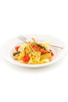 Pasta With Zucchini And Shrimps Royalty Free Stock Images