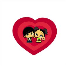 Icon Love Boy And Girl Stock Photo