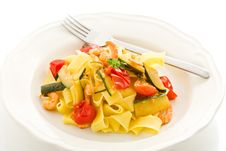 Pasta With Zucchini And Shrimps Royalty Free Stock Photo