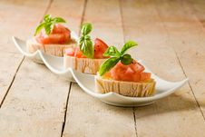 Free Bruschetta With Tomatoes And Basil Royalty Free Stock Images - 20393669
