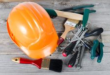 Free Set Building Tools On Old Boards Royalty Free Stock Photos - 20394158