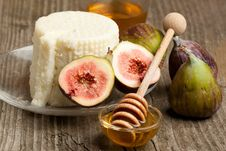 White Cheese With Figs And Honey Stock Images