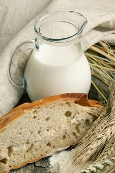 Free Piece Of Bread With Milk Stock Photos - 20394773