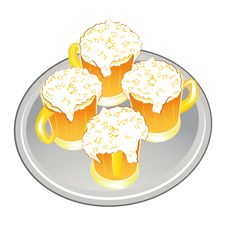 Light Beer Mug Or Goblet On Silver Tray Stock Image