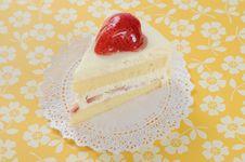 Strawberry Soft Cake On Yellow Background Stock Photography