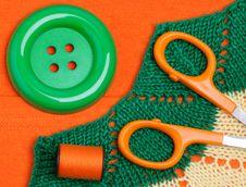 Scissors, Button, Threads Stock Photos