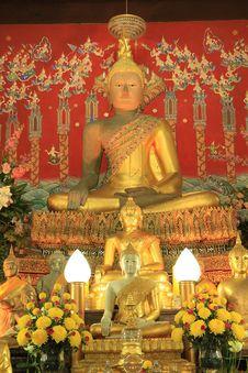 Statue Of A Buddha In Church Stock Photos