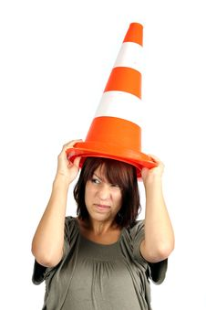 Girl With Traffic Cone Royalty Free Stock Image