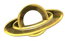 Free Saturn Platet Symbol In Gold - 3d Made Royalty Free Stock Images - 20395939
