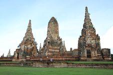 Ruined Pagoda In Ayuthaya, Thailand. Royalty Free Stock Image