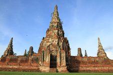 Ruined Pagoda In Ayuthaya, Thailand. Stock Photo