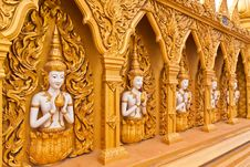 Angel Wall Of Buddhist Temple Tilted Out Overall Stock Images