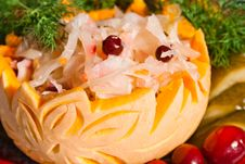 Free Sauerkraut With Cowberry In Art Pumpkin Royalty Free Stock Images - 20397079