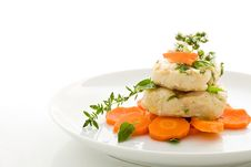Cod Over Carrots Isolated Royalty Free Stock Images