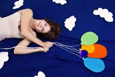 Free Girl Lying On The Clouds With Baloons Royalty Free Stock Photos - 20397598