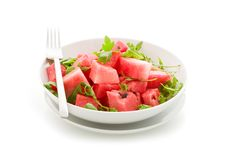 Free Watermelon And Arugula Salad Isolated Stock Image - 20397601