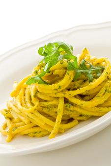 Free Pasta With Saffron And Arugula Pesto Isolated Stock Image - 20398281