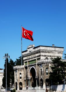 Turkish Flag Above University Building Stock Photo