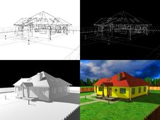3D House Rendering, 3d Project Stock Photos