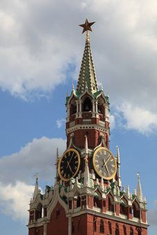 Free Moscow. Spasskaya Tower Top Royalty Free Stock Photography - 20399917