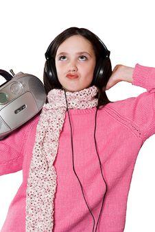 Free Pretty Girl Listening Music Stock Photo - 2040660
