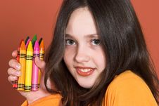 Pretty Girl With Colored Pencils Royalty Free Stock Photography