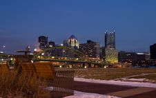 Free Bench Facing Downtown Stock Photography - 2041142