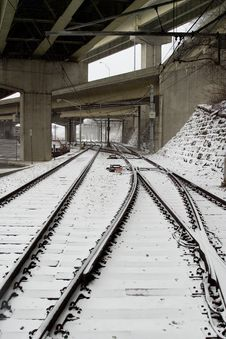 Free Rail Road Tracks In Snow Royalty Free Stock Photos - 2041178