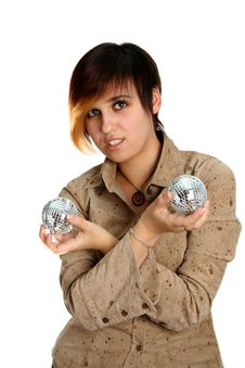 The Young Girl Holds Mirror Spheres In Hands Stock Image