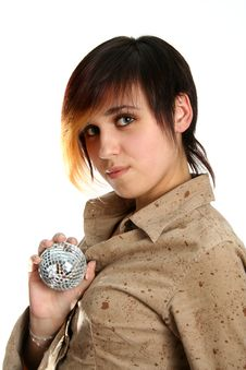 Free The Young Girl Holds Mirror Sphere In Hand Royalty Free Stock Image - 2043356