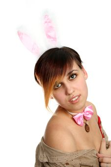 Free The Young Bunny Girl With Pink Rabbit Ears Stock Photography - 2043372