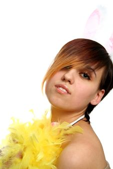 The Young Bunny Girl With Yellow Feathers Royalty Free Stock Images