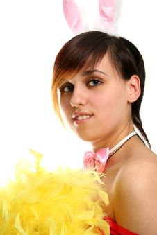The Young Bunny Girl With Yellow Feathers Stock Images