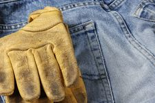Free Jeans And Leather Glove Concept Royalty Free Stock Image - 2046726