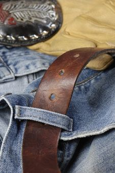 Free Jeans Belt And Gloves Idea Stock Photo - 2046730
