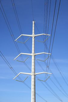 White Electricity Pylon And Power Lines Royalty Free Stock Image