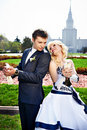 Free Newlyweds With Pigeons Stock Images - 20403534