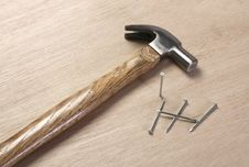 Free Vintage Hammer With Nails Royalty Free Stock Photo - 20400275