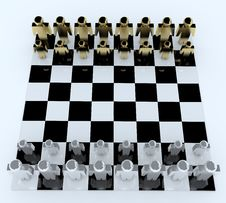 3d People In Chess Board Stock Photography