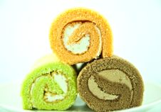 Cream Cake Roll Stock Images