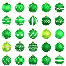 Free Green Christmas Baubles Big Back 25 Stock Photo - 20402890