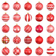 Free Red Christmas Baubles Big Back 25 Stock Images - 20402934