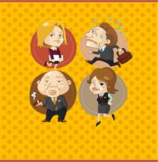 Free Cartoon Office Worker Card Royalty Free Stock Photos - 20403148
