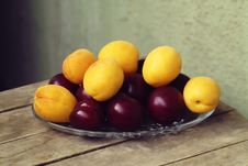 Apricot Plum On The Table Royalty Free Stock Image