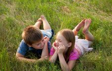 Free Funny Boy And Girl On Grass Stock Photography - 20404812