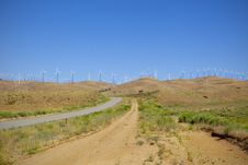Ridgeline Of Wind Farm Stock Photo