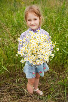 Free Girl With A Bouquet Of Daisies Stock Photography - 20405412