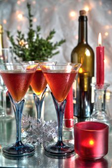 Free Red Wine In Glasses,bottles And Candle Royalty Free Stock Images - 20406909