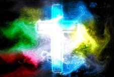 Free Cross In Color Smoke Royalty Free Stock Image - 20407096